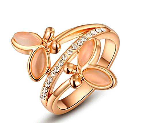 Anelli Donna Matrimonio Placcato Oro Doppia Farfalla Zirconia Cubicia Cz Dimensioni 11,5 Da Aienid