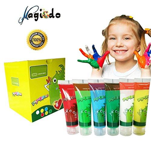 Kinder Fingerfarben von Magicdo - 6 Farben waschbar und ungiftig Kleinkind Paint Set, natürliche Wasser-basierte und umweltfreundliche helle Malerei für Kinder DIY, Kunsthandwerk Malerei (6-er Set)