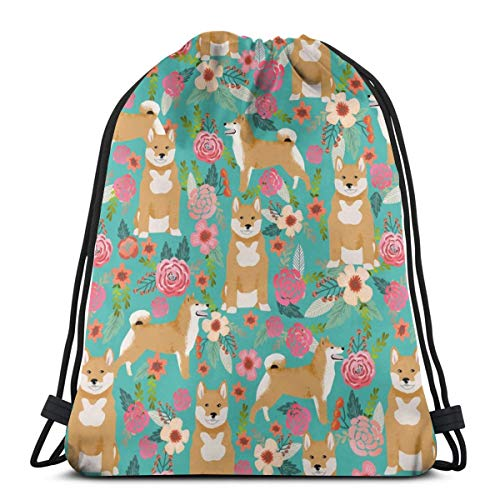best gift Shiba Inu Floral Turquoise Flowers Girls Sweet Dog Pet Doggy for Girls_179 Custom Drawstring Shoulder Bags Gym Bag Travel Backpack Lightweight Gym for Man Women 16.9