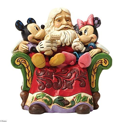 Disney Traditions - Figura Decorativa de Papá Noel con Mickey y Minnie