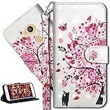 HMTECH Sony Xperia XA2 Hülle Luxus 3D Süßes Cat Bunte Blumen Flip Standfunktion Karten Slot Magnetverschluß Brieftasche Taschen Schalen Handy Ledercase für Sony Xperia XA2,Cat Pink Flowers