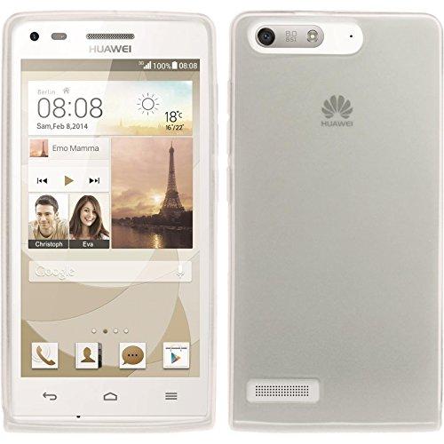 PhoneNatic Case für Huawei Ascend P7 Mini Hülle Silikon weiß transparent Cover Ascend P7 Mini Tasche + 2 Schutzfolien