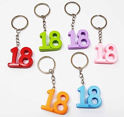 Takestop® set 12 pezzi bomboniera bomboniere numero 18 anni diciottesimo compleanno portachiavi porta chiave chiavi colore casuale