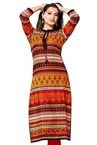 Shubhangie Women's Cotton Kurti (Shu-03-36 ,Multicolor Bust Size(Xxl) 44 Inches)