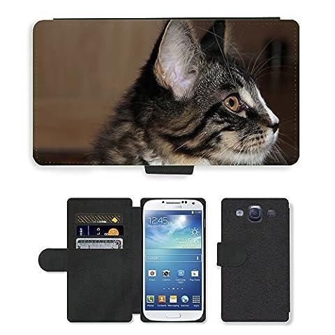 GoGoMobile PU Leather Flip Custodia Protettiva Case Cover per // M00124374 Cat animal jeune chat espiègle Curieux // Samsung Galaxy S3 S III SIII i9300