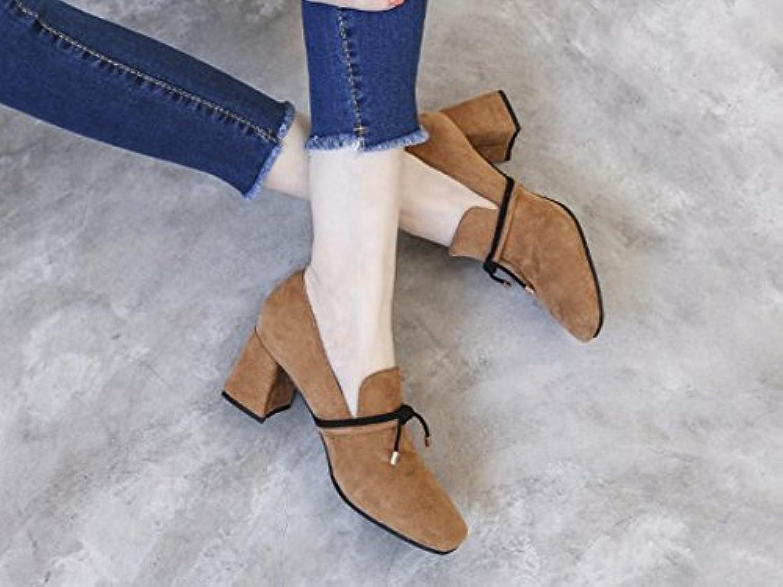 SFSYDDY-Spring nueva versión coreana de zapatos de tacón gruesos para mujer cabeza poco profunda zapatos de una...