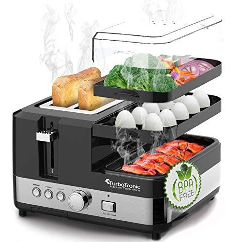 2 Scheiben Toaster - Breakfast-Line 3in1 - mit Eierkocher, Mini-Pfanne & Steamer (Dampfgarer), Frühstücksset