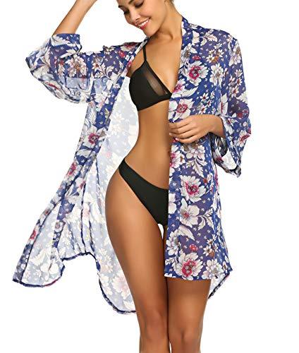 Balancora Damen Chiffon Cardigan Strandkleid Strand Bikini Badeanzug Strandkleid Strandponcho Sommer Strandkleid Bikini Cover Up Blau