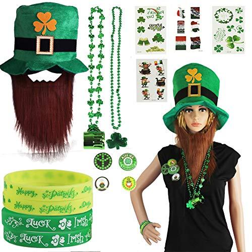 foci cozi St Patrick's Day Accessory Set Irish Party Favor Shamrock Hat, Knöpfe, Gummibänder Armbänder, Stickers,Halsketten für Party,Parade oder Celebration (Patricks St Day Party)