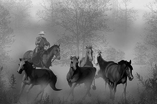 Vlies Fototapete - Cowboy mit Pferden - schwarz Weiss - 300x200 cm - mit Kleister - Poster - Foto auf Tapete - Wandbild - Wandtapete - Vliestapete - Wettbewerb V-ausschnitt