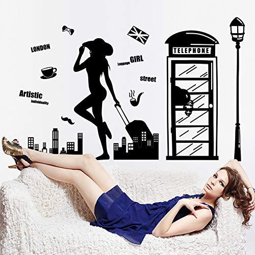 XCJX wandaufkleber aufkleber persönlichkeit kreative einfache schönheit reise telefonzelle stadt schwarz und weiß silhouette wohnzimmer sofa hintergrund 77X107 CM