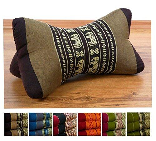 livasia Nackenkissen der Marke, Nackenrolle aus Kapok, asiatisches Nackenstützkissen (Knochenkissen) BZW. kleine Nackenrolle, (braun/Elefanten) -