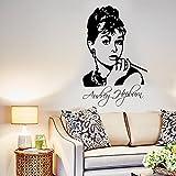 FORTR Home Wandaufkleber Removable Character Avatar Sticker Aufkleber Audrey Hepburn