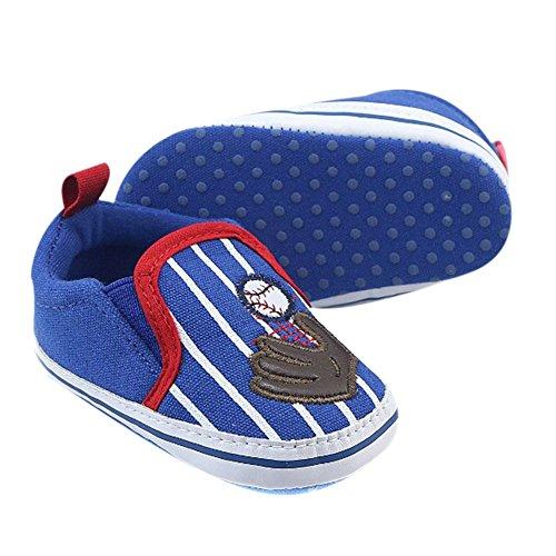 MiyaSudy Baby Mädchen Jungen Baseball Pattern Weiche Sohle Casual Schuhe Lauflernschuhe Erste Wanderer 0-18 Monate Hellblau