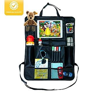 CARPACK® Autositz Organizer für Kinder, Rückenlehnenschutz, Rückenlehnentasche für Ihren Auto Rücksitz, iPad-/Tablet-Fach mit Touch, Autositz Zubehör, Trittschutz mit Getränkehalter