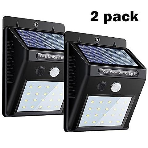 Solar Lights 2 PACK, 20 LEDs Capteur de mouvement Lampe murale par USTONE, Bright Security Night Lights Auto On / Off, imperméable à l'eau sans fil Spot d'éclairage solaire pour l'arbre, le patio, le jardin, le garage, l'entrée, les escaliers, la piscine