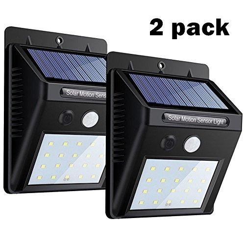 Solarleuchte mit Bewegungsmelder(2 PACK) USTONE, 20 LEDS Solar Wandleuchte / Bewegungssensor Solarlampei / Wetterfeste / Auto On und Off für Patio, Plattform, Hof, Garten, Weg