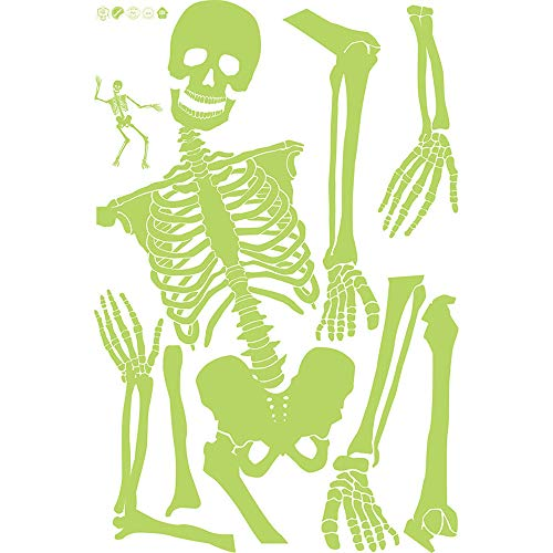 Wandaufkleber Forh Wandabziehbild Halloween Abziehbild Dekor Luminous Skeleton Drucken Dekor Halloween Wohnkultur Abnehmbare Wandtattoo Wandsticker (Grün, 148x108cm)