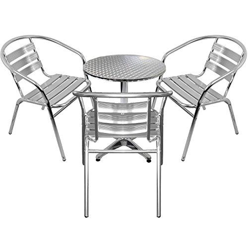 Wohaga 4er Set Gartenmöbel Gartengarnitur Aluminium Bistrogarnitur Bistrotisch Stehtisch Ø60cm Tischplatte Schleifoptik + 3X stapelbare Bistrostühle – Silber