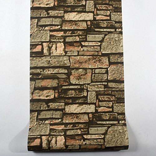 DUOCK Sala ristorante Cucina Wall Papers Home Decor 3D un muro di mattoni in finta pietra sfondo effetto Rivestimento parete Papel de Parede 3D, wp858 A, 53cm X 10M