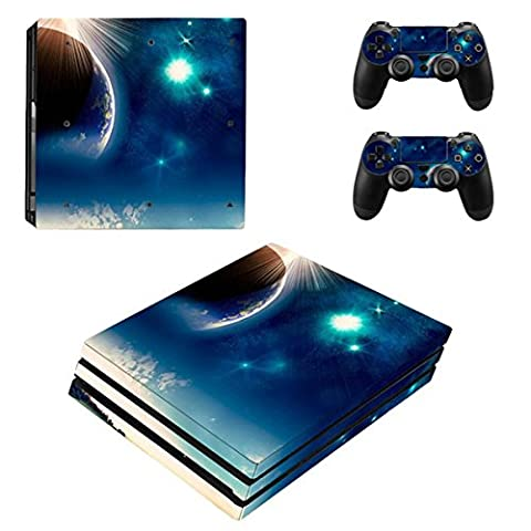 Morbuy PS4 Pro Skin Vinyl Autocollant Sticker Decal pour Playstation 4 Pro console and 2 Dualshock Manette Set (Blue Earth)