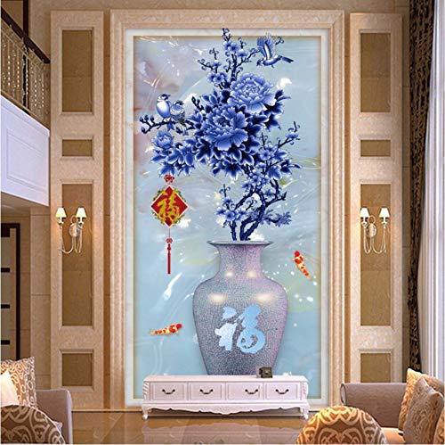 Kuamai Benutzerdefinierte Fototapete Moderne Mode Design Pfingstrose Blume Porzellan Vase Eingang Kulisse Wandbild Hochwertige Tapete-450X300cm