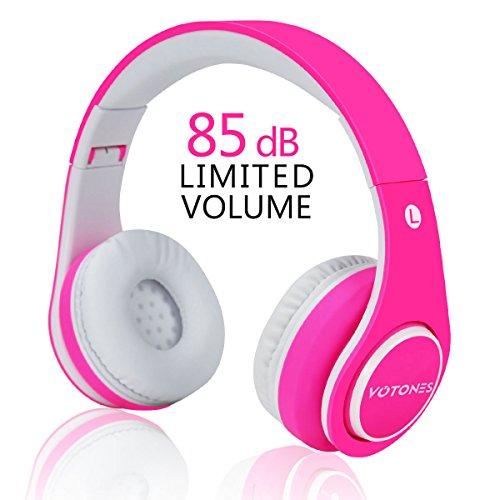 Votones Kinder kopfhörer kabellos mädchen,Gummi Öl Komfortables Material über Ohr Bluetooth Headset für Kinder,85dB Lautstärkeregler kompatibel für Smartphone/PC Tablet