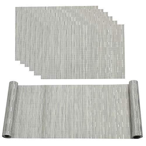 Famibay pvc runner da tavola 180cm resistente al calore facile da pulire tovagliette set di 6(grigio argento) ...