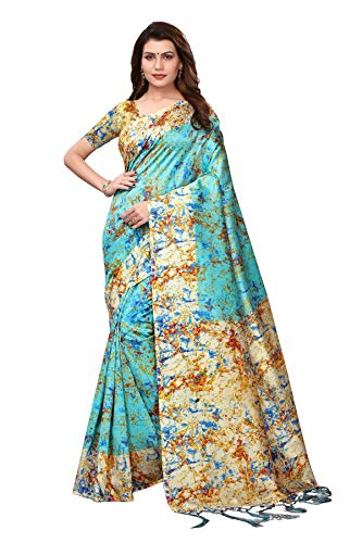 Indian Women's Art Silk Kalamkari and Bhagalpuri Style Sari with Blouse Piece Spray RAMA
