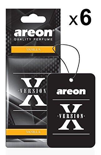 Areon X Profumo Auto Vaniglia Deodorante Dolce Originali Nero Da Appendere Pendente Specchietto Retrovisore Cartoni 2D Casa Set ( Vanilla Pack x 6 )