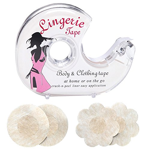 Woboren Damen Fashion Tape/doppelseitiges Textil - Haut Klebeband Großpack mit Abroller (one size, fashion tape & 4 pairs nipple cover)