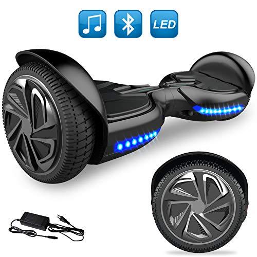 GeekMe 6,5-Zoll-Hoverboard-Elektroroller-intelligenter selbstausgleichender Roller eingebauter Bluetooth-Lautsprecher blinkende LED-Lichter für Kinder und Erwachsenen