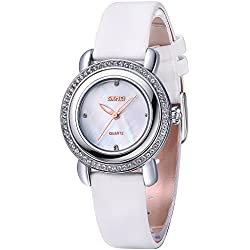 Inwet Bling Crystal Lady Quartz Watch with Mother of Pearl Dial Analogue Display and White Leather Strap