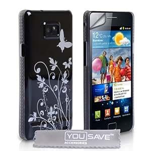 Yousave Accessories Etui + Protection d'écran pour Samsung Galaxy S2 i9100 Noir/Blanc