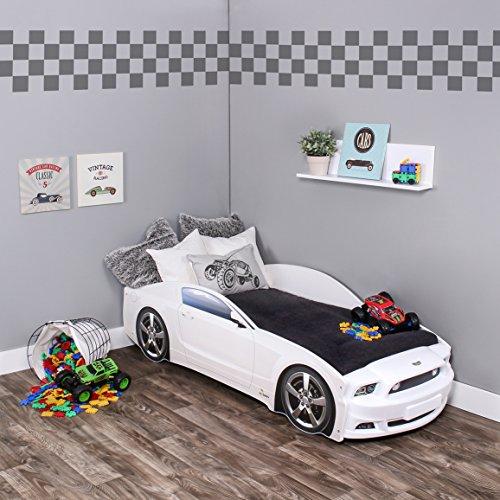 Kagu - Cama infantil/cama juvenil con diseño de un verdadero coche, también disponible con iluminación LEDPráctica y cómoda cama para su hijo. blanco Mustang White Basic