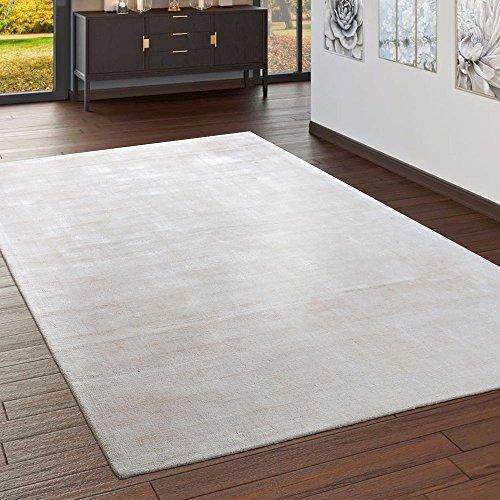 Paco Home Teppich Handgefertigt Hochwertig 100% Viskose Vintage Aufällig Meliert In Creme, Grösse:160x230 cm - Viskose-teppich