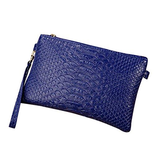 Longra Sacchetto del messaggero della borsa del telefono cellulare della borsa della moneta della borsa della moneta della stampa del serpente alla moda di colore solido Blu