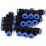 WEONE Ersatz 0-60 Grad Pneumatische Anschlüsse 5 Wege Union Triple-Schlauch 6mm Messing und Polybutylen (Packung mit 5)