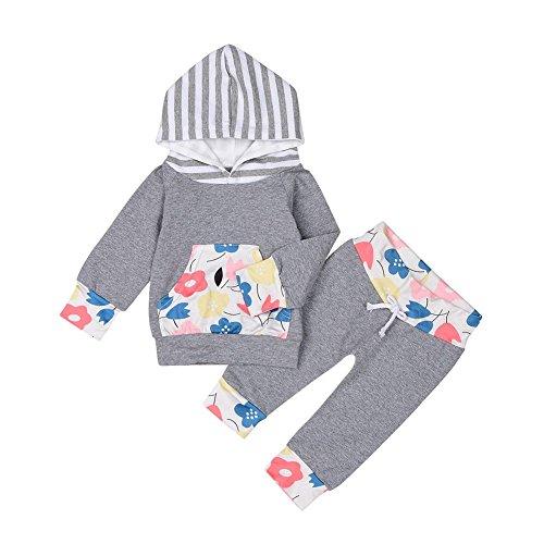 PanDaDa 2 PCs Säugling Baby Mädchen Kleidung Set Floral Tasche Langarm Hoodie Top + Pant