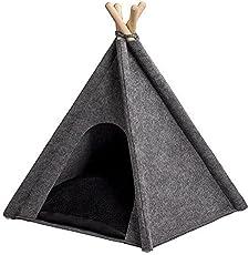 ANIMALY TIPI Zelt für Haustiere, Hundezelt, Katzenzelt, Haustierbett, Haustierhütte für Hunde und Katzen mit beidseitig anwendbarem Kissen, modernes Design, schneller Aufbau, Gestell aus Kiefernholz, Filz-Zeltstoff, hergestellt in der EU