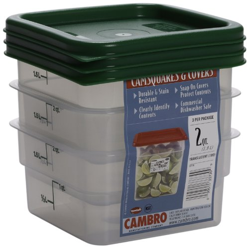 Cambro Set of 3 Square Food Storage Containers with Lids, 2 Quart by Cambro Square Food Storage Set