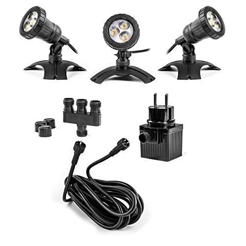 LED Strahler 3-er Set Unterwasser Teichleuchten Unterwasserstrahler Beleuchtung Wasserfall, Gartenteich, Wasserspiele etc. oder Objekte an Land, komplett wasserdicht, 12V AC, Sicherheitstrafo