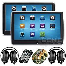 2x Sonic Audio® hr-10ct–Universal de la pantalla táctil 10.1tableta Samsung Galaxy S3Mini i8190/reproductor de DVD reposacabezas con pantalla USB/SD y auriculares inalámbricos por infrarrojos, color Plug-and-play rear-seat sistema de entretenimiento