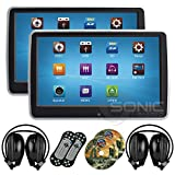 "2 x Sonic Audio ® HR-10CT - Universal Touch-Screen 10.1"" Tablet-Style Clip-On Headrest DVD Player/Screen with USB/SD and Wireless Infrared Headphones - Plug-and-Play Rear-Seat Entertainment System"