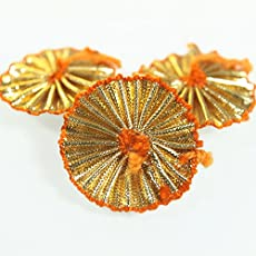 Embroiderymaterial Gota Patti Flowers Decoration & Craft Making Appliques Patches (Gold_Pack of 100)