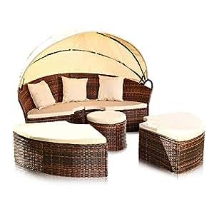 gartenlounge sonneninsel aus polyrattan in braun 180 cm x 165 cm b x h. Black Bedroom Furniture Sets. Home Design Ideas