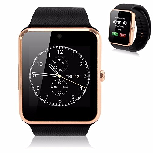 GENORTH Nuovissimo Bluetooth Smart Watch GT08 indossabile Smart Health Orologio da polso Telefono con slot per scheda SIM per Android Samsung HTC LG (Tutte le funzioni) IOS iPhone 5/5s/6/plus (Parte delle funzioni) (Oro)