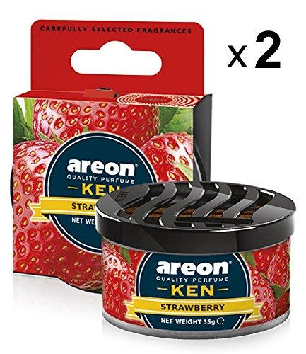 Areon Ken Ambientador Coche Fresa Olor Fruit Dulce Hogar Aire Casa Lata Debajo Asiento Perfume Original Rojo 3D ( Strawberry Pack de 2 )