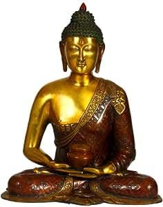 Le Bouddha en laiton Dhyana Mudra–Sculpture