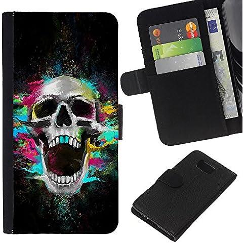 Leather Etui en cuir || Samsung ALPHA G850 || Los dientes del cráneo de neón Scream Esqueleto colorido